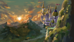 Size: 2615x1470 | Tagged: safe, artist:tinybenz, canterlot, canterlot castle, mountain, mountain range, no pony, scenery, scenery porn, signature, sky, sunset, waterfall