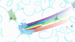 Size: 1280x720 | Tagged: safe, screencap, rainbow dash, pegasus, pony, butt, cloud, flying, intro, opening, plot, sky, solo, theme song