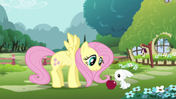 Size: 1280x720 | Tagged: angel bunny, animal, apple, bird house, discord, draconequus, fence, flower, fluttershy, fluttershy's cottage, food, intro, mountain, mountain range, opening, pegasus, pony, rabbit, safe, screencap, slowpoke, theme song, tree