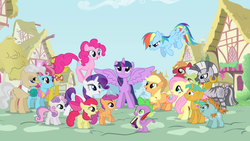 Size: 1280x720 | Tagged: safe, screencap, apple bloom, applejack, big macintosh, carrot cake, cup cake, fluttershy, granny smith, mayor mare, pinkie pie, rainbow dash, rarity, scootaloo, snails, snips, spike, sweetie belle, twilight sparkle, zecora, alicorn, dragon, earth pony, pegasus, pony, unicorn, zebra, book, colt, cutie mark crusaders, female, filly, intro, male, mane seven, mane six, mare, opening, ponyville, quill, stallion, theme song, twilight sparkle (alicorn)