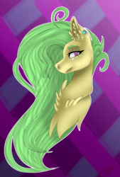 Size: 1215x1793 | Tagged: abstract background, artist:smileyjoke36, beauty mark, bust, chest fluff, ear fluff, ear piercing, earring, fangs, female, jewelry, lidded eyes, long mane, looking at you, mare, oc, oc only, oc:poison flora, piercing, pony, safe, solo