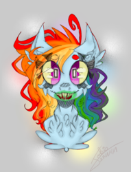 Size: 849x1109 | Tagged: abstract background, alternate hairstyle, artist:smileyjoke36, beanbrows, bust, cheek fluff, chest fluff, ear fluff, eyebrows, eye clipping through hair, female, looking at you, mare, messy mane, open mouth, pony, rainbow dash, safe, sharp teeth, solo, surreal, teeth