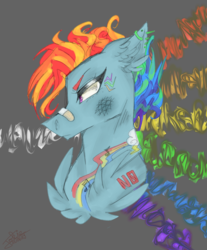Size: 2000x2414 | Tagged: abstract background, alternate hairstyle, alternative cutie mark placement, artist:smileyjoke36, bandaid, bruised, bust, chest fluff, ear fluff, ear piercing, earring, female, floppy ears, jewelry, mare, music notes, narrowed eyes, piercing, pony, rainbow dash, safe, solo, tattoo
