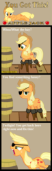 Size: 286x935 | Tagged: amputee, applejack, applejack's hat, artist:cheesepuffs, barrel, comic, cowboy hat, dialogue, earth pony, eyepatch, female, funny, hat, looking at you, mare, open mouth, peg leg, pony, prosthetic leg, prosthetic limb, prosthetics, quadruple amputee, safe, solo, unamused, yelling