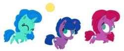 Size: 1920x799 | Tagged: artist:徐詩珮, ball, base used, female, filly, horn, magical lesbian spawn, my little pony: the movie, next generation, oc, oc:betty pop, oc:spring legrt, oc:storm lightning, offspring, parent:glitter drops, parents:glittershadow, parent:spring rain, parents:springdrops, parents:springshadow, parents:springshadowdrops, parent:tempest shadow, pony, running, safe, simple background, transparent background, unicorn, vector