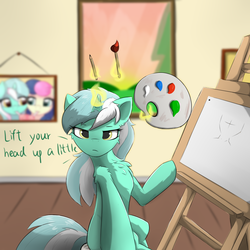 Size: 1024x1024 | Tagged: artist:d.w.h.cn, artist:ratofdrawn, blue eyes, bon bon, cheek fluff, chest fluff, dialogue, ear fluff, easel, female, frown, levitation, looking at you, lyra heartstrings, magic, mare, milkshake, paintbrush, painting, paintings, pony, safe, shoulder fluff, sweetie drops, talking to viewer, telekinesis, unicorn, yellow eyes