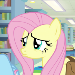 Size: 860x860 | Tagged: animated, animated png, cropped, cute, daring doubt, eye shimmer, female, fluttershy, frown, lidded eyes, lip quiver, mare, pegasus, pony, pouting, puppy dog eyes, rainbow dash, sad, sadorable, safe, screencap, shyabetes, solo focus, spoiler:s09e21