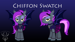 Size: 6830x3840 | Tagged: artist:legendaryspider, bat pony, bat pony oc, bat wings, beautiful, broken hearts, buttons, choker, clothes, commission, cute, ear piercing, earring, ear tufts, eyeshadow, eyes half closed, fishnets, goth, gothic, goth pony, hairpin, jewelry, makeup, mane, necklace, oc, oc:chiffon swatch, pendant, piercing, pleated skirt, pony, reference sheet, safe, schoolgirl, show accurate, skirt, smiling, socks, stockings, studs, tail, thigh highs, vest, watermark, wings