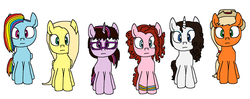 Size: 1611x635 | Tagged: alternate mane six, alternate universe, artist:logan jones, blank stare, bracelet, dyed hair, earth pony, freckles, glasses, hat, jewelry, lookalikes, looking at you, natural hair color, not applejack, not fluttershy, not pinkie pie, not rainbow dash, not rarity, not twilight sparkle, oc, oc:allison jack, oc:flora shelly, oc:peggy diane, oc:rachel dawn, oc:rebecca tina, oc:tina sparks, pegasus, pony, safe, simple background, unicorn, white background