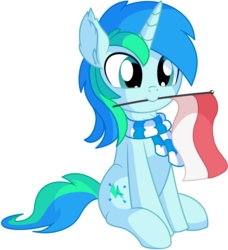 Size: 1495x1639 | Tagged: artist:cyanlightning, chest fluff, clothes, colt, ear fluff, flag, indonesia, indonesian, indonesian flag, indonesian independence day, male, mouth hold, oc, oc:cyan lightning, oc only, pony, safe, scarf, simple background, sitting, solo, svg, .svg available, transparent background, unicorn, vector