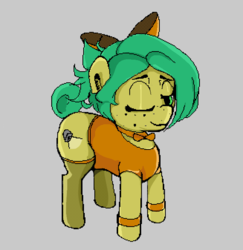 Size: 654x674 | Tagged: artist:dog giraffe, clothes, oc, oc:sundrop, one eye closed, pixel art, pony, safe, wink
