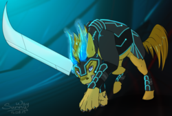 Size: 1492x1000 | Tagged: angry, armor, artist:sunny way, attack, claws, horns, hybrid, looking at you, magic, male, oc, oc only, oc:sameiro, paws, safe, solo, sword, teeth, weapon