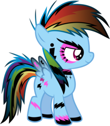 Size: 6000x6912 | Tagged: absurd res, artist:serenawyr, choker, eyeshadow, female, filly, filly rainbow dash, goth, makeup, ponymania, rainbow dash, safe, simple background, solo, tattoo, transparent background, vector, younger