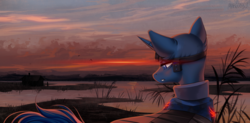 Size: 1622x800 | Tagged: artist:margony, cabin, clothes, fantasy class, oc, oc only, pony, safe, scenery, solo, sunset, unicorn, warrior, water, ych result