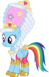 Size: 661x1024 | Tagged: safe, artist:fehlung, artist:kayman13, edit, vector edit, rainbow dash, pony, clothes, dashie antoinette, dress, face edit, marie antoinette, powdered wig, rainbow dash always dresses in style, simple background, smiling, solo, transparent background, vector, wig