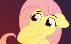 Size: 1718x1060 | Tagged: safe, artist:ljdamz1119, fluttershy, pony, bust, confused, female, floppy ears, gradient background, hoof on chin, looking at something, looking away, mare, solo