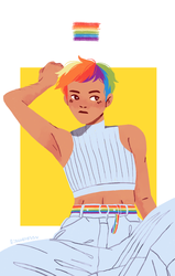 Size: 1053x1653 | Tagged: alternate hairstyle, armpits, artist:fioweress, belly button, clothes, female, human, humanized, jeans, midriff, pants, rainbow dash, safe, solo, tanktop