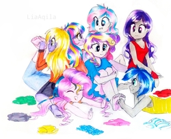Size: 2686x2179 | Tagged: safe, alternate version, artist:liaaqila, princess flurry heart, princess skyla, oc, oc:espion, oc:foxtrot (ice1517), oc:lovebug (ice1517), oc:prince dust, oc:starbright sword, changepony, hybrid, icey-verse, equestria girls, barefoot, brother and sister, clothes, commission, crying, cute, equestria girls-ified, eyes closed, feet, female, femboy, fetish, foot fetish, grin, half-siblings, hoodie, interspecies offspring, jeans, laughing, magical lesbian spawn, male, multicolored hair, offspring, pants, parent:princess cadance, parent:queen chrysalis, parent:shining armor, parents:cadalis, parents:shining chrysalis, parents:shiningcadance, rule 63, shirt, siblings, simple background, sisters, sitting on person, smiling, socks, striped socks, t-shirt, tanktop, tears of laughter, teary eyes, tickle fight, tickle torture, tickling, traditional art, trans female, transgender, wall of tags, white background