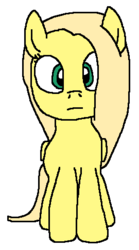 Size: 270x487 | Tagged: alternate universe, artist:logan jones, blonde, looking at you, not fluttershy, oc, oc:flora shelly, part of a set, pegasus, pony, safe