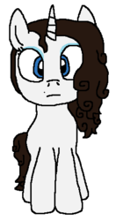 Size: 257x487 | Tagged: alternate universe, artist:logan jones, beauty mark, eyeshadow, looking at you, makeup, not rarity, oc, oc:rebecca tina, part of a set, pony, safe