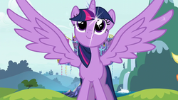 Size: 1280x720 | Tagged: alicorn, applejack, intro, looking up, opening, pony, safe, screencap, sparkles, spread wings, theme song, twilight's castle, twilight sparkle, twilight sparkle (alicorn), wings