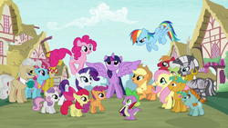 Size: 1280x720 | Tagged: alicorn, apple bloom, applejack, big macintosh, book, carrot cake, colt, cup cake, cutie mark crusaders, dragon, earth pony, female, filly, fluttershy, granny smith, intro, male, mane seven, mane six, mare, mayor mare, opening, pegasus, pinkie pie, pony, ponyville, quill, rainbow dash, rarity, safe, scootaloo, screencap, snails, snips, spike, stallion, sweetie belle, theme song, twilight sparkle, twilight sparkle (alicorn), unicorn, zebra
