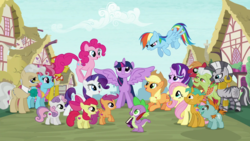 Size: 1920x1080 | Tagged: alicorn, apple bloom, applejack, big macintosh, book, carrot cake, colt, cup cake, cutie mark, cutie mark crusaders, dragon, earth pony, female, filly, fluttershy, granny smith, intro, male, mane seven, mane six, mare, mayor mare, opening, pegasus, pinkie pie, pony, ponyville, quill, rainbow dash, rarity, safe, scootaloo, screencap, snails, snips, spike, stallion, starlight glimmer, sweetie belle, the cmc's cutie marks, theme song, twilight sparkle, twilight sparkle (alicorn), unicorn, zebra