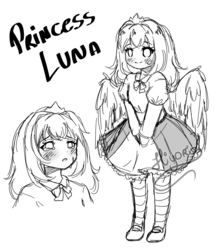 Size: 2800x3200 | Tagged: alicorn, artist:hiyori-yamada, clothes, cute, dress, equestria girls, human, humanized, monochrome, princess luna, safe, sketch, solo, winged humanization, wings, young luna