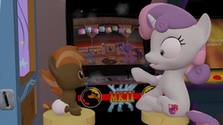 Size: 3840x2160 | Tagged: safe, artist:mrdoctorderpy, button mash, rainbow dash, sweetie belle, twilight sparkle, alicorn, pony, 3d, 4k, age regression, arcade, babality, baby, baby dash, baby pony, diaper, foal, mortal kombat, source filmmaker, twilight sparkle (alicorn)