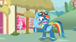 Size: 1189x671 | Tagged: artist:kayman13, artist:onlineodd, clothes, dress, female, goggles, mare, pegasus, pony, ponyville, poster, rainbow dash, safe, shield, uniform, what is this, wingding eyes, wings, wonderbolts, wonderbolts uniform