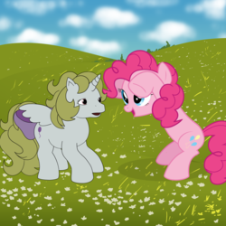 Size: 2480x2480 | Tagged: safe, artist:versatex, baby surprise, pinkie pie, surprise, pony, bow, g1, princess surprise, tail bow