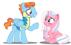 Size: 1024x650   Tagged: safe, artist:warriorflashfire, clear sky, wind rider, pony, base used, blushing, clearrider, clothes, headcanon, simple background, towel, transparent background, uniform, wonderbolt trainee uniform, younger