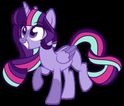 Size: 1280x1091 | Tagged: safe, artist:unicorn-mutual, oc, oc only, oc:nova andromeda, alicorn, pony, alicorn oc, female, magical lesbian spawn, mare, offspring, parent:starlight glimmer, parent:twilight sparkle, parents:twistarlight, simple background, solo, transparent background