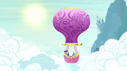 Size: 1280x720 | Tagged: canterlot castle, cloud, cloudy, dragon, hot air balloon, opening, pony, safe, screencap, sky, spike, sun, theme song, twilight sparkle, twinkling balloon, unicorn, unicorn twilight
