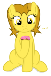 Size: 1000x1500 | Tagged: ..., artist:devfield, donut, earth pony, female, food, golden star loves donuts, holding, looking down, mare, oc, oc:golden star, pony, safe, shading, shadow, simple background, sitting, solo, transparent background, two toned mane, yellow eyes