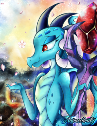 Size: 786x1017 | Tagged: safe, artist:animechristy, princess ember, dragon, cherry blossoms, dragon lands, dragon lord ember, flower, flower blossom, peaceful, solo, staff, sunrise, volcano