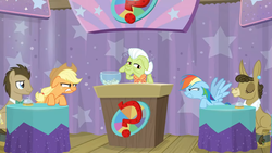 Size: 1600x900   Tagged: safe, screencap, applejack, doctor whooves, granny smith, matilda, rainbow dash, time turner, a trivial pursuit, spoiler:s09e16, angry, bell, bowl, glare, paper, podium, question mark, rivalry, staring ponies