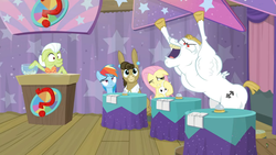 Size: 1600x900   Tagged: safe, screencap, bulk biceps, fluttershy, granny smith, matilda, rainbow dash, a trivial pursuit, spoiler:s09e16, curtains, excited, notepad, podium, question mark, yeah, yeah!!!!!!!!