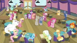 Size: 1600x900   Tagged: safe, screencap, applejack, bon bon, bulk biceps, cheerilee, cranky doodle donkey, cup cake, daisy, doctor whooves, flower wishes, fluttershy, golden crust, granny smith, lily, lily valley, lyra heartstrings, matilda, maud pie, midnight snack (character), mudbriar, pinkie pie, rainbow dash, roseluck, spike, sunburst, sweetie drops, time turner, twilight sparkle, alicorn, a trivial pursuit, spoiler:s09e16, angry, bell, ceiling light, crowd, curtains, disappointed, door, female, friendship student, levitation, magic, male, notepad, podium, sad, scroll, table, telekinesis, twilight sparkle (alicorn), unamused, upset