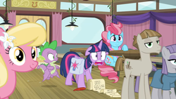 Size: 1600x900 | Tagged: safe, screencap, lily, lily valley, maud pie, mudbriar, spike, twilight sparkle, alicorn, dragon, a trivial pursuit, spoiler:s09e16, ceiling light, curtains, door, female, floppy ears, flying, jaw drop, male, shocked, table, twilight sparkle (alicorn), window, winged spike