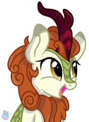 Size: 928x1265 | Tagged: artist:rainbow eevee, autumn blaze, bust, cute, daaaaaaaaaaaw, female, kirin, open mouth, safe, simple background, smiling, solo, transparent background, vector