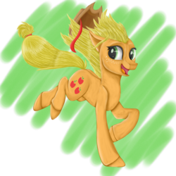 Size: 1024x1024 | Tagged: abstract background, applejack, artist:moonlight37dusk, cutie mark, earth pony, female, floppy ears, happy, mare, open mouth, pony, running, safe, solo, speedpaint available, windswept mane