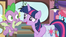 Size: 1600x900 | Tagged: alicorn, a trivial pursuit, ceiling light, cup cake, curtains, dragon, flying, saddle bag, safe, screencap, spike, spoiler:s09e16, twilight sparkle, twilight sparkle (alicorn), window, winged spike