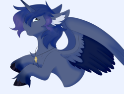 Size: 3000x2280 | Tagged: alicorn, alicorn oc, artist:kazehanatenshi, commission, ear fluff, floppy ears, jewelry, looking at you, necklace, oc, oc only, pony, safe, simple background, solo, spread wings, unshorn fetlocks, wings