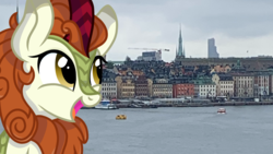 Size: 2560x1440 | Tagged: artist:rainbow eevee, autumn blaze, cloud, cloudy, cute, female, irl, kirin, photo, safe, solo, stockholm, sweden