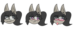 Size: 600x252 | Tagged: artist:sande, bat pony, bat pony oc, blushing, facial expressions, freckles, glasses, oc, oc:titty sprinkles, ponytail, safe, simple background, transparent background
