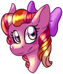 Size: 1063x1248 | Tagged: artist:lukaus-ravyn, bow, bust, earth pony, female, filly, hair bow, oc, oc:honeycrisp blossom, oc only, offspring, parent:big macintosh, parent:princess cadance, parents:cadmac, pony, safe, simple background, solo, transparent background