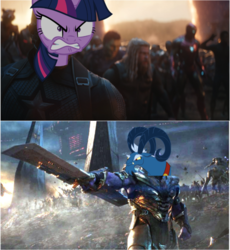 Size: 618x673 | Tagged: anthro, avengers, avengers: endgame, captain america, edit, grogar, marvel cinematic universe, meme, safe, thanos, twilight sparkle