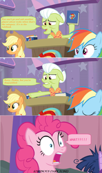 Size: 1366x2312 | Tagged: alicorn, applejack, a trivial pursuit, book, bowtie, comic, dialogue, disbelief, disqualified, edit, edited screencap, granny smith, messy, messy mane, pinkie pie, podium, pointing, pony, rainbow dash, safe, screencap, screencap comic, shocked, speech bubble, spoiler:s09e16, twilight sparkle, twilight sparkle (alicorn)