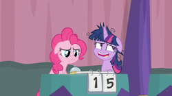 Size: 1364x766 | Tagged: alicorn, a trivial pursuit, bell, chuckle, curtains, floppy ears, frazzled, messy mane, nervous laugh, notepad, pinkie pie, pony, sad, sad eyes, safe, score, screencap, spoiler:s09e16, table, twilight sparkle, twilight sparkle (alicorn)